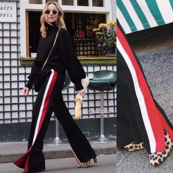 Zara Pants Black Trousers With Red And White Side Stripe Poshmark